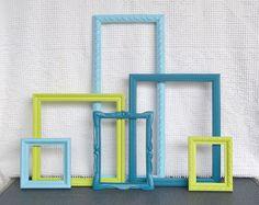 Lime Green Aqua Teal Turquoise Ornate Frames set of 6 Upcycled Painted Modern Frame set bedroom decor. $46.00, via Etsy.