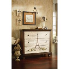 Mais, oui! This Parisian inspired chest would look tres bon in the entry way or a neutral living room. Hammary furniture. Hidden Treasures collection.