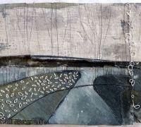 Marshscape Collage #9, Linen, wax, metal, linen thread