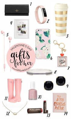 This Valentine's Day gift guide is great. There is something here for everyone & for any budget (gifts start at just $5!). Unique gifts for her - Best Valentine's Day gifts - Valentine's Day Gift Ideas - Gift Guide - Gift Ideas for her - pretty in pink - Budget Gifts - Essie polish - Kate Spade - Passport - Burts Bees - Earbuds  - Fitbit - Hunter Boots -Love Potion - Key chain - Cute iPhone case - gold mug - travel mug - Coach wallet - small woman's wallet - black white and pink