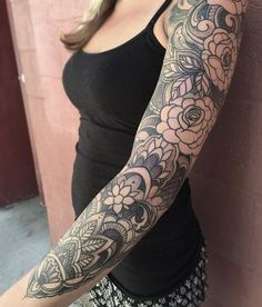 Tattoos - Ornamental black and gray floral sleeve in progress - 119533