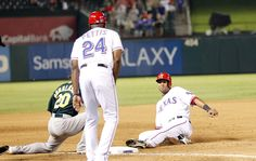 CrowdCam Hot Shot: Texas Rangers right fielder Alex Rios is tagged out by Oakland Athletics third baseman Josh Donaldson in the eighth inning of the game at Rangers Ballpark in Arlington. The Oakland Athletics beat the Texas Rangers 9-8. Photo by Tim Heitman