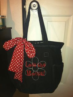 Love this minnie purse! It's from thirty one (you can personalize almost any bag) Scarf is sold separately.