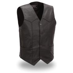 FMC Traditional Four Snap Leather Vest for Men - Motorcycle House