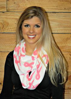 White Scarf with Pink Breast Cancer Ribbons!Show your Support for Breast Cancer with this Cute Infinity Scarf!