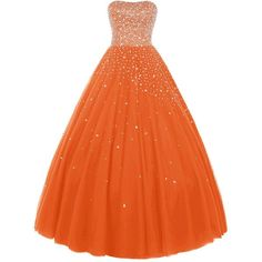 Wedtrend Women's Princess Ball Gown Party Dress Quinceanera Dress with... (6.580 UYU) ❤ liked on Polyvore featuring dresses, beaded dress, beading dress and orange dress