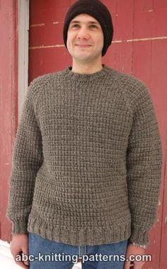 Mens Sweater Knitting Patterns Free knitting pattern: Men's Raglan Woodsman Sweater by ABC Knitt. Mens Knit Sweater Pattern, Jumper Patterns, Sweater Knitting Patterns, Knit Patterns, Free Knitting, Men Sweater, Raglan Pullover, Crochet Men, Free Crochet