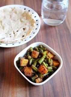 Aloo Beans Recipe (How to make Punjabi Aloo beans Subzi recipe) Podi Recipe, Subzi Recipe, Lemon Green Beans, Green Beans And Potatoes, Vegetarian Bean Chili, Vegetarian Recipes, Vegetarian Cooking, Indian Cookbook, Bean Recipes