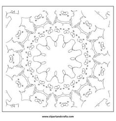 Cat mandala coloring page for teens or adult coloring, a kaleidoscope line art printable page
