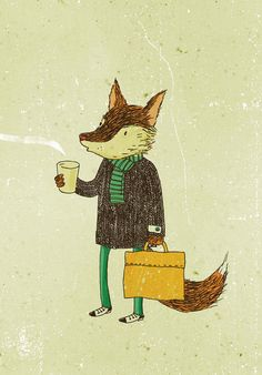 Greeting card  Mr. Fox and coffee by lukaluka on Etsy, $5.00