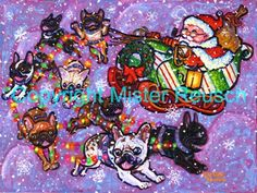French Bulldog Santa Sleigh Original Christmas by misterreusch, $400.00