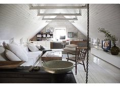 Attic finishing idea - LOVE the ceiling, walls and all the white.