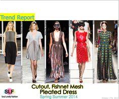 Cutout, Fishnet Mesh Pleated #Dress #FashionTrend for Spring Summer 2014 #fashiontrends2014 #spring2014 #trends #pleats