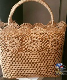 "Crochet_Tutorial - ""Outstanding Crochet: Limited time free pattern/tutorial for Crochet Summer Tote Bag. Crochet Tote, Crochet Handbags, Crochet Purses, Crochet Stitches, Knit Crochet, Crochet Patterns, Knitted Gloves, Knitted Bags, Crochet Vintage"
