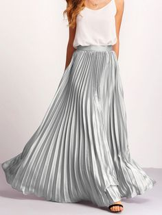 SheIn(sheinside) Silver Zipper Side Pleated Flare Maxi Skirt liked o Long Pleated Maxi Skirt, Mini Skirt, Long Skirts, Skirt Outfits, Dress Skirt, Satin Skirt, Skirt Fashion, Fashion Outfits, Women's Fashion