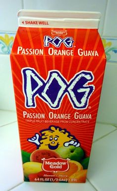POG is a tropical style drink from Hawaii that consists of a blend of Passionfruit, Orange, and Guava fruits– hence POG. (FredMeyers just started selling it. I bought some today: so tasty!) www.lanimoo.com/POG/