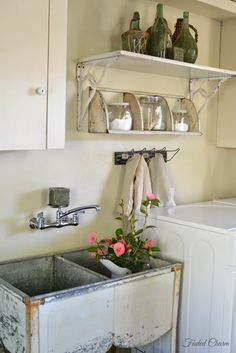 Best 20 Laundry Room Makeovers - Organization and Home Decor Laundry room decor Small laundry room organization Laundry closet ideas Laundry room storage Stackable washer dryer laundry room Small laundry room makeover A Budget Sink Load Clothes Rustic Laundry Rooms, Laundry Room Sink, Laundry Decor, Farmhouse Laundry Room, Laundry Room Organization, Laundry Room Design, Basement Laundry, Organization Ideas, Vintage Laundry Rooms