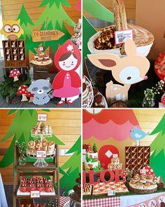 Roja a decoraciones de fiesta de campana Little Red por maydetails