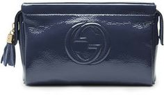 Gucci Soho Patent Leather Cosmetic Case, Blue on shopstyle.com