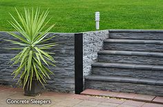 Modern stone wall & stairs