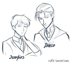 Scorpius looks a bit like a younger Iago (or do I dare suggest Theo?) and Draco looks a bit like older Iago, though with short hair.