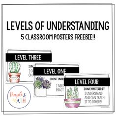 Levels of Understanding Posters - Succulents Teaching Study Skills, Teaching Math, Math Bulletin Boards, Visible Learning, Self Monitoring, Levels Of Understanding, Classroom Posters, Succulents, Students
