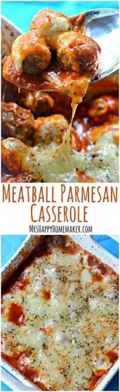 I love easy & delicious recipes like this Meatball Parmesan Casserole. You only need 5 ingredients, it's ready in minutes & it'll feed a crowd for cheap. | MrsHappyHomemaker.com @thathousewife