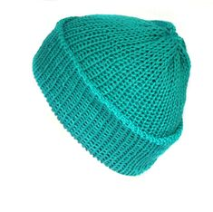 Turquoise teal cotton beanie hat, handmade with soft cotton yarn, can be worn as a slouchy hat or fisherman beanie, gender neutral hat 90s Grunge, Grunge Style, Soft Grunge, Funky Fashion, Hipster Fashion, Hipster Style, Grunge Fashion, Grunge Accessories, Handmade Accessories