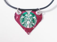 Interesting handmade Starbucks logo heart necklace—made from recycled aluminum❣ AbsoluteJewelry • Etsy
