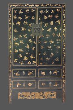 Asien Lifestyle schwarzer Hochzeitsschrank, chinesischer Schrank mit Schmetterling China Natur Holz Asia Möbel Massivholz schwarz: Amazon.de: Küche & Haushalt