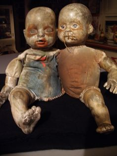 2013 today's creepy baby make~over, the twins. I need to find a little knife for L side baby...he wants to sever the ties that bind. Halloween prop DIY by October Pun'kin aka punkineater