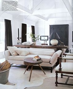 rustic refined living space - dual seating areas