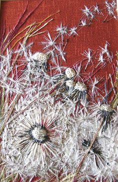♒ Enchanting Embroidery ♒ embroidered dandelions - Embroideries From The Past Exhibition