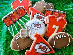 football sugar cookies, tailgate football, kc chief, sport, kansas city chiefs, footbal cooki, parti idea, decor cooki, themed parties