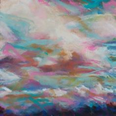 KISS OF THE CLOUDS - 6 x 6 skyscape pastel by Susan Roden, painting by artist Susan Roden