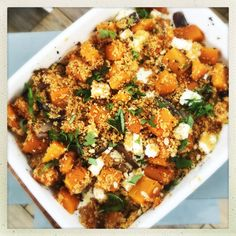 Super easy vegetarian roast butternut squash and feta couscous - utterly delicious couscous recipe packed with flavour and super simple to cook #vegetariandinner #vegetarianrecipes #squashrecipes