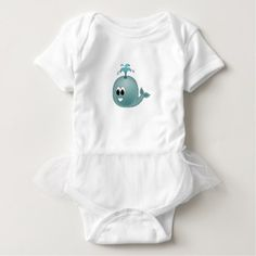 Cute Baby Blue Whale Illustration Baby Bodysuit - kids kid child gift idea diy personalize design