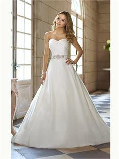 White A Line Sweetheart Beading Organza 2013 Wedding Dresses