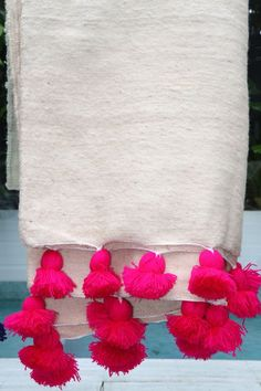 Hand Loomed Woollen Pom Pom Blankets from Morocco - Hot Pink