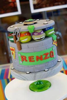 TMNT Ninja Turtles themed birthday party via Kara's Party Ideas : SUPER awesome cake!!
