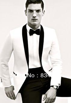 Custom Made to Measure men's BESPOKE suit,white jacket + black shawl lapel + black pants+ tie+P sqaure, Tailored fashion tuxedos US $119.90