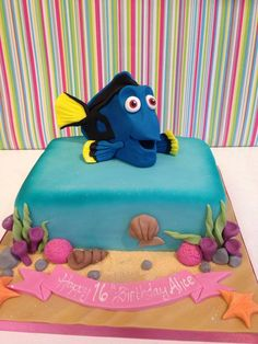 """just keep swimming!"" Dory themed cake from Disneys Finding Nemo"