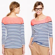J. Crew • Neon and Navy Striped Shirt 100% Cotton. Never Worn. J. Crew Tops Tees - Long Sleeve