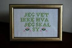 geriljabroderi for barn Cross Stitching, Cross Stitch Patterns, Arts And Crafts, Barn, Embroidery, Words, Frame, Prints, Diy