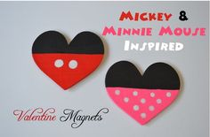 Another great Disney craft project for Valentine's Day | Mickey and Minnie Inspired magnets