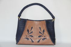 Small navy and brown Abbe cut out. Croc & leather are a great match!
