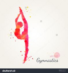 Silhouettes Of A Gymnastic Girl. Vector Watercolor Illustration On A Paper Background - 429491233 : Shutterstock