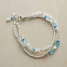 """MOON LAGOON BRACELET--Three strands capture the silvery essence of moonlight on water. Moonstones, sterling silver and cultured pearls accompany brilliant blue apatites in two hues. Exclusive. Handcrafted in USA. 7-1/2""""L."""