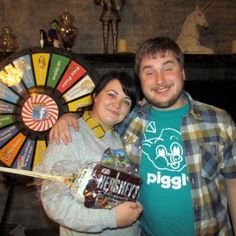 Leah and Mike won a Family Smores Pack! Tonight be the first to tell the Front Desk your favorite Halloween Candy and you can Spin the Wheel! Buy this Prize Wheel at http://PrizeWheel.com/products/floor-prize-wheels/floor-table-black-clicker-prize-wheel-18-slot/.