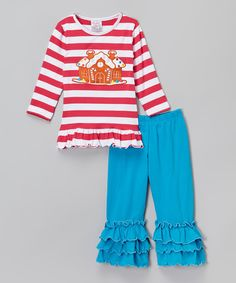 Look at this Smocked or Not Gingerbread Tunic & Ruffle Pants - Infant, Toddler & Girls on #zulily today!
